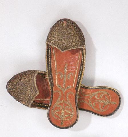 Османские кожаные тапочки с блестками и серебряной вышивкой